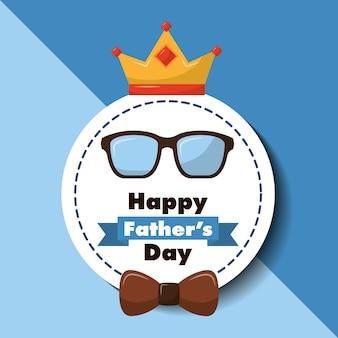 De gelukkige van de de groetkaart van de vadersdag de boog en de kroon van boogglazen
