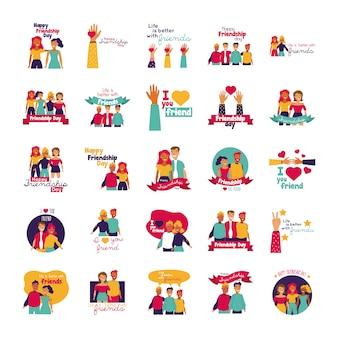 De gelukkige viering van de vriendschapsdag met geplaatste mensen en pictogrammen