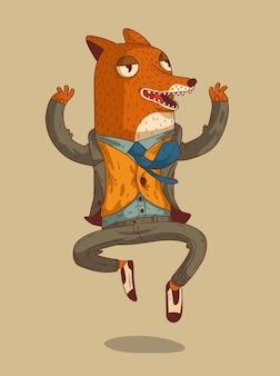 De gelukkige vos verheugt zich over zijn succes