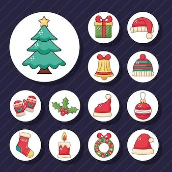 De gelukkige vrolijke boom van de kerstmispijnboom en vastgesteld de illustratieontwerp van stickerspictogrammen