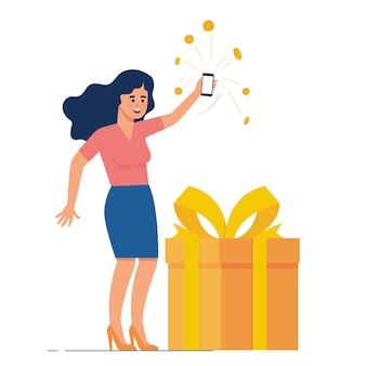 De gelukkige vrouw verzamelt punt en beloning van elektronische handel