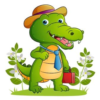 De gelukkige werknemer van de krokodil houdt een kostuumtas vast en gebruikt de hoed van de illustratie