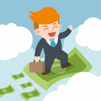 De gelukkige zakenman trekt heel wat geld aan. passief inkomen concept.