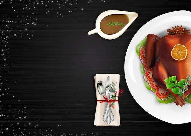 De geroosterde vogel van turkije op witte plaat