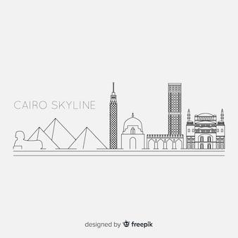 De geschetste horizon van kaïro in zwart-wit