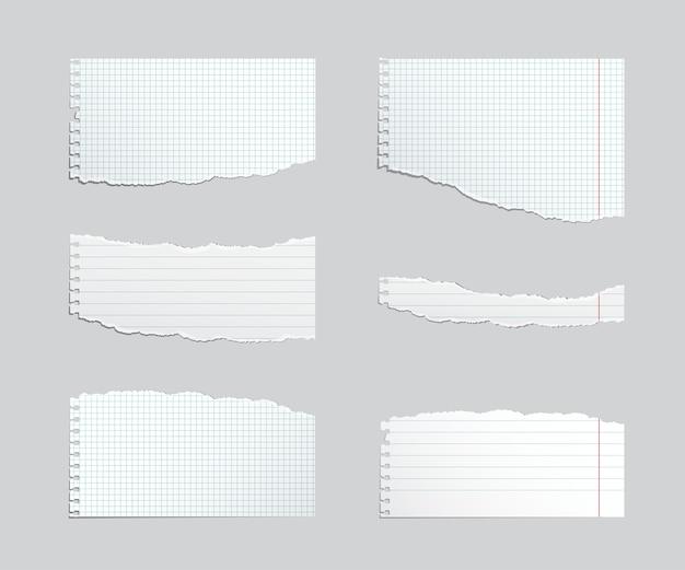 De gescheurde reeks van het voorbeeldenboekblad die op grijs wordt geïsoleerd