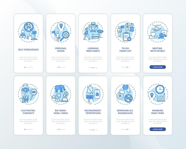 De gewoonte van het uitstellen van taken voorbijgaan aan het onboarding van het mobiele app-paginascherm met ingestelde concepten