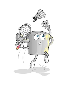 De gieter kan bij badmintoncartoon breken. cartoon mascotte