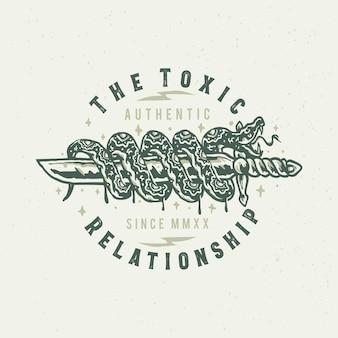De giftige relatie slang en mes illustratie