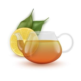 De glazen theepot met zwarte thee en schijfje citroen realistisch