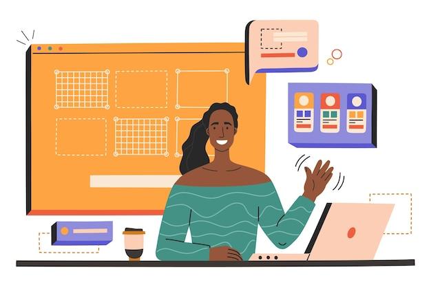 De glimlachende jonge vrouw met laptop maakt webdesign op de werkvloer