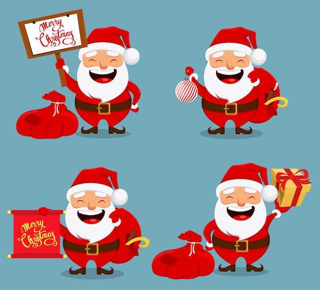 De glimlachende kerstman die zak houden met stelt voor