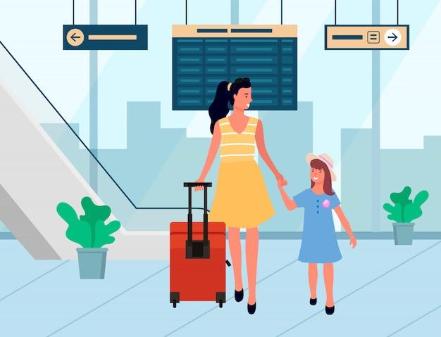 De glimlachende reizigers komen aan, familie in luchthavenvector