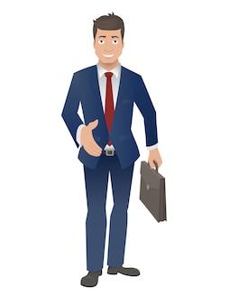De glimlachende zakenman houdt zijn hand voor een handdruk stand.