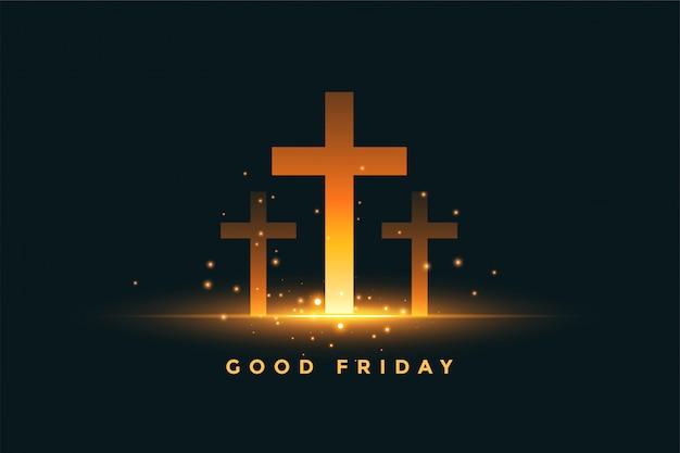 De gloeiende achtergrond van het drie dwars goede vrijdagconcept