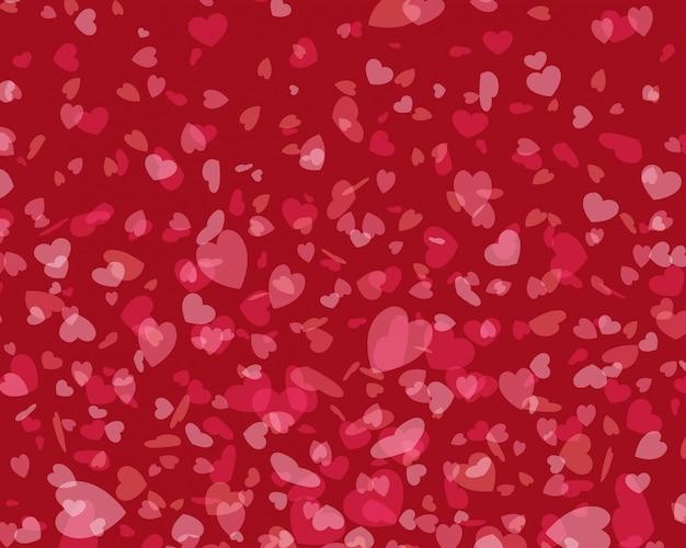 De gloeiende en vliegende hartenconfettien van de valentijnskaartendag met plaats voor de illustratie van het wensontwerp