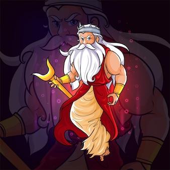 De goden van hades met het kroon esport-logo-ontwerp van illustratie