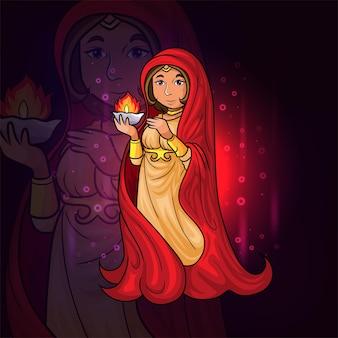 De godin houdt een vuur-esport-mascotteontwerp van illustratie vast