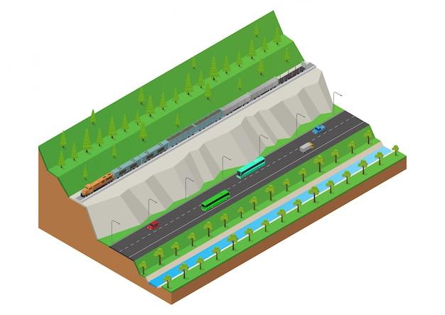 De goederentrein rijdt op de rails op de heuvel naast de snelweg