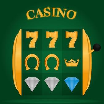 De gokautomaten van het casino over groen achtergrond vectorillustratie grafisch ontwerp