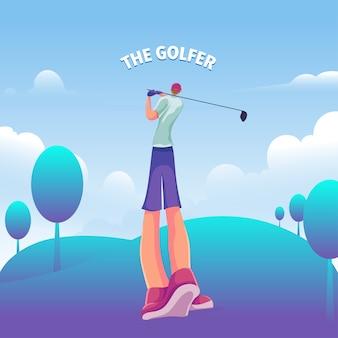 De golfer poseert in het veld