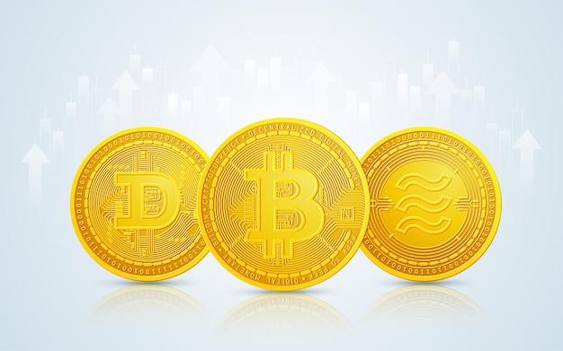 De gouden munt van bitcoin, dogecoin en weegschaalmuntstuk in cryptocurrency-technologie met beursachtergrond