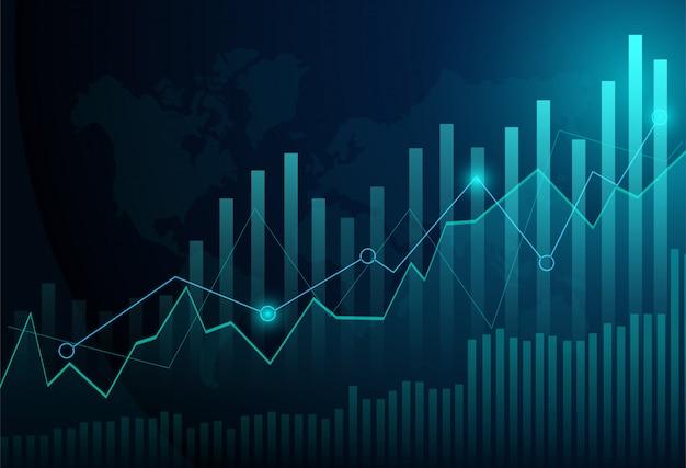 De grafiekgrafiek van de bedrijfskaarsstok van effectenbeursinvestering die op blauwe achtergrond handel drijven.