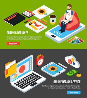 De grafische ontwerpdienst en hulpmiddelen voor ontwerpers horizontale banners plaatsen 3d isometrische geïsoleerde vectorillustratie