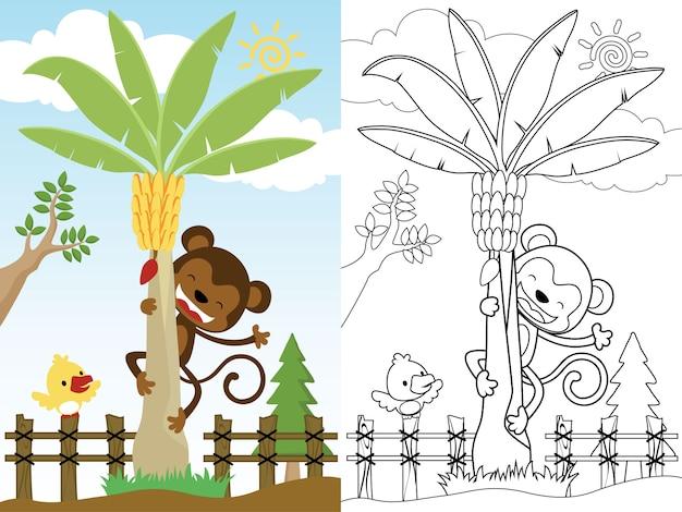 De grappige aapcartoon beklimt een kokospalm