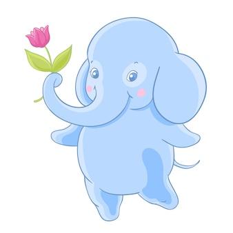 De grappige blauwe beeldverhaalolifant geeft een bloem.