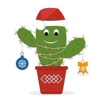 De grappige cactus van karakterkerstmis met een slinger in de hoed van de kerstman, kleurenvectorillustratie.