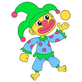 De grappige clown voert het jongleren met de bal, vectorillustratieart. doodle pictogram afbeelding kawaii.