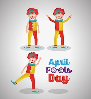 De grappige gelukkige komediekarakter april dwazen dag van de clowns
