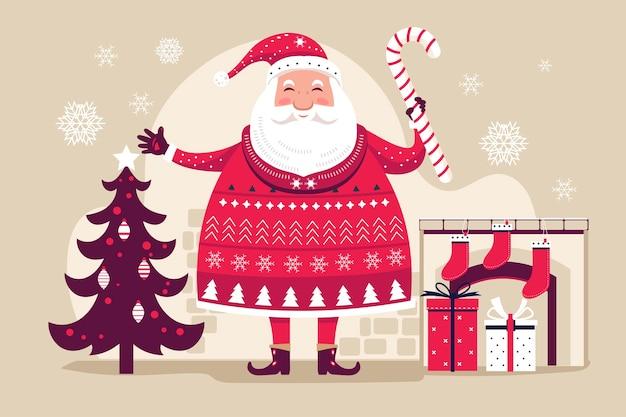 De grappige kerstman houdt de lolly van kerstmis met de achtergrond van kerstmiselementen