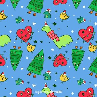 De grappige kinderachtige stijl van het kerstmispatroon