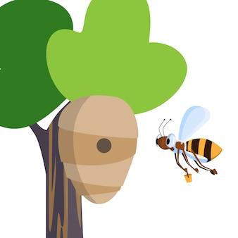 De grappige vectorbij draagt emmer honing in bijenkorf die op boom in bosweide hangt