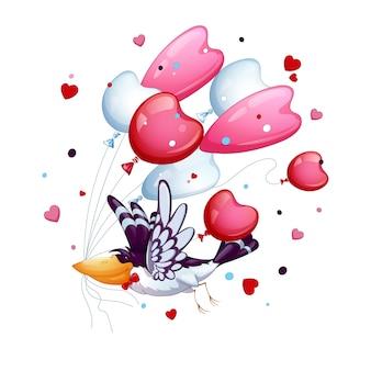 De grappige vogel met een stropdasvlinder vliegt met een bos van ballons - harten. valentijnsdag.