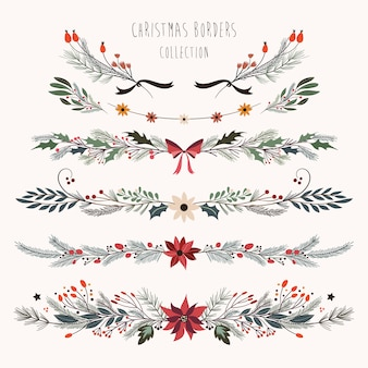 De grenzeninzameling van kerstmis met decoratieve hand getrokken seizoengebonden bloemen en installaties