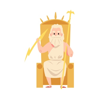 De griekse god man of zeus zit op de troon met staf en bliksem cartoonstijl