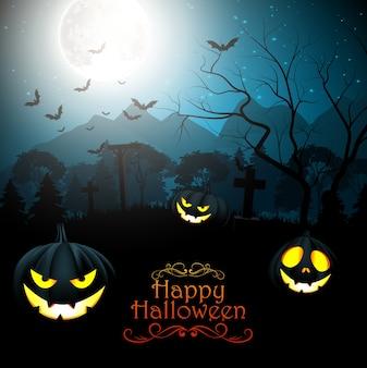 De griezelige begraafplaats van halloween in bos bij nacht