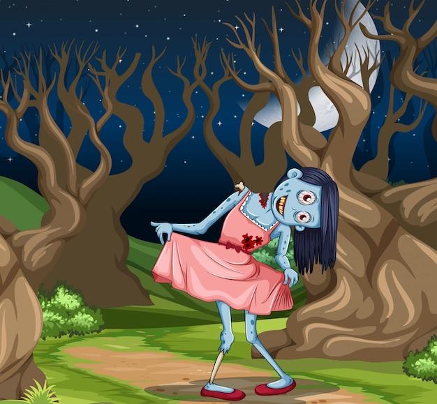 De griezelige scène van het zombiemeisje