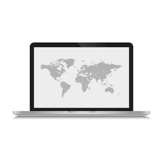 De grijze wereldkaart is afgebeeld op een schermcomputer en op een witte achtergrond.