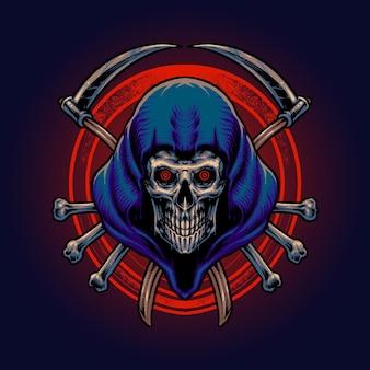 De grim reaper hoofd illustratie vector