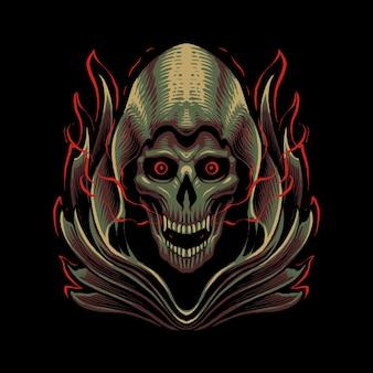 De grim reaper schedel hoofd illustratie