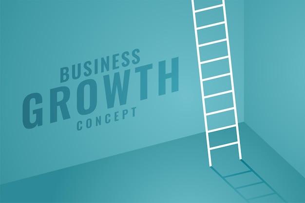 De groeiachtergrond van het bedrijfsconcept met ladder die naar de muur leunt