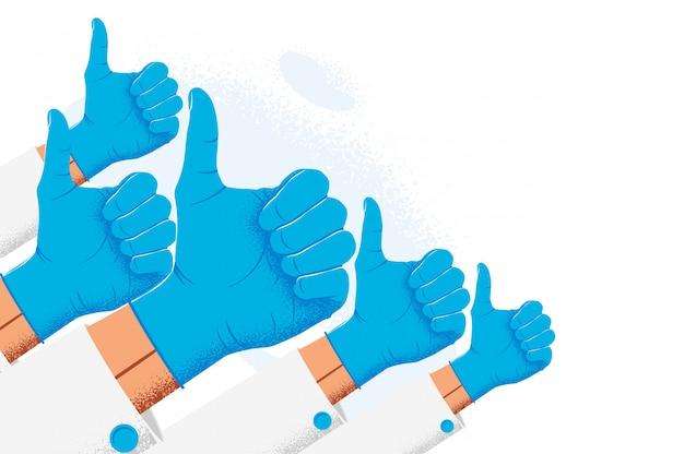 De groep opgeheven artsen of verpleegsters dient blauwe medische beschermende handschoenen in die duim als tekengebaar tonen. artsen aanbeveling concept. illustratie