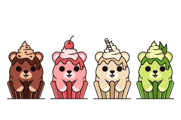 De groep van leuke kleine cake draagt