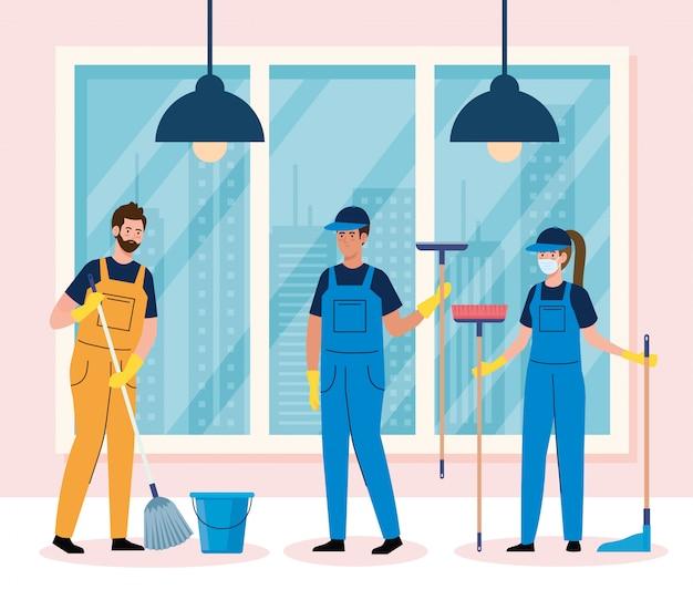 De groepsarbeiders van de schoonmakende dienst die medisch masker in het ontwerp van de huisillustratie dragen
