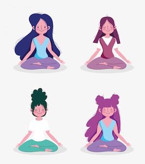 De groepsvrouwen die yoga uitoefenen stellen thuis de sportoefening van de lotusbloemactiviteit