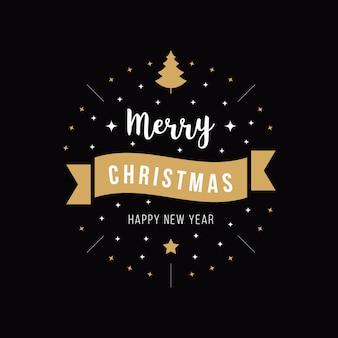 De groet van kerstmis siert boom gouden zwarte achtergrond